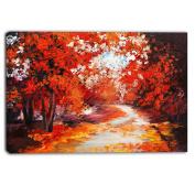 "Designart PT6106-100cm - 80cm Forest in The Fall Landscape"" Canvas Artwork, Red, 100cm x 80cm"