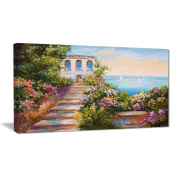 "Designart PT6104-80cm - 41cm House Near The Sea Landscape"" Canvas Artwork, Green, 80cm x 41cm"