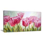 "Designart PT6291-100cm - 50cm Tulips in A Row Floral"" Canvas Artwork, Pink, 100cm x 50cm"