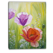 "Designart PT6085-80cm - 100cm Poppies in The Morning Floral"" Canvas Artwork, Red, 80cm x 100cm"