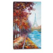 """Designart PT6103-50cm - 100cm Paris Eiffel Tower View in Fall Landscape"""" Canvas Artwork, Red, 50cm x 100cm"""