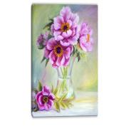 """Designart PT6098-50cm - 100cm Purple Peonies in Vase Floral"""" Canvas Artwork, Pink, 50cm x 100cm"""
