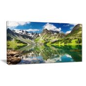 "Designart PT6083-100cm - 50cm Reflecting Mountain Lake Landscape"" Canvas Artwork, Green, 100cm x 50cm"