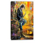 "Designart PT6081-50cm - 100cm Man with Saxophone Contemporary"" Canvas Artwork, Yellow, 50cm x 100cm"