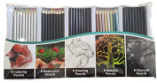 40 Piece Professional Artist Colour Pencil Set, Includes (8) Each of Colouring, Watercolour, Drawing, Metallic and Charcoal Pencils