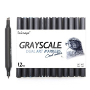 Dainayw Dual Tips Art Sketch Twin Marker Pens, Cool Grey, Grayscale, 12 Pack