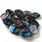 ULAKY Peacock Feather Patterns Disc Oblate Loose Shell Spacer Bead Findings