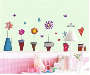 ULAKY Nature Pot Plant Flower Butterfly Vinyl PVC Home Decor Decals Wall Sticker