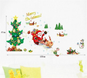 ULAKY Removable Merry Chrismas Santa Plants Wall Sticker Decal Room Art Decor Cute