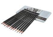 Clobeau Premier 12-piece Graphite Drawing Pencils Professional Art Supplies Sketching Painting Art Set in Metal Tin Case