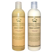 Nubian Heritage Indian Hemp & Haitian Vetiver Body Wash and Body Lotion Bundle, With Neem Oil, Shea Butter, Hemp Seed Oil and Vetiver, 380ml each