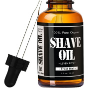 #1 TRUSTED Leven Rose Organic Fresh Mint Shave Oil - 30ml - Closer Shave, Softer Skin, Natural Ingredients