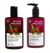 Avalon Organics CoQ10 Perfecting Facial Toner 240ml + Wrinkle Therapy Cleansing Milk 250ml