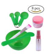 Teenitor Lady Facial Care Mask Facemask Mixing Tool Sets, Bowl Stick Brush Gauge 8 in 1 Set Green .  By FBA]