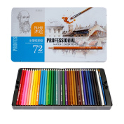 Finerolls Professional Watercolour Pencils 72-Colour Assorted Colours with Extender + Eraser + Sharpener + 72 Hole Pen Shade + Brush for Drawing Artist Student Art Beginners