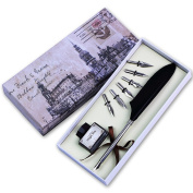 Antique Writting Quill Feather Pen Gift Set with 6pcs Metal Nibbed Calligraphy Pen As Christmas Gift