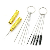QST 11pcs Airbrush Spray Gun Nozzle Cleaning Repair Tool Kit Needle & Brush Set