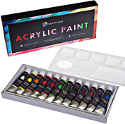 Acrylic Paint Set By Colour Technik, 12 Best Colours For Painting Canvas, Wood, Clay, Fabric, Nail Art and Ceramic, Rich Pigments, Palette Included! Aluminium Tubes, Premium Quality, Perfect Gift Idea!