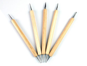 RuiChy 5PC 2 Way Double Ended Nail Art Manicure Pedicure Dot Paint Dotting Painting Marbleizing Pen Tool