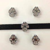 Set of 20 pc silver rhinestone animal paws slide charm fits 8mm wristband for jewellery /crafting