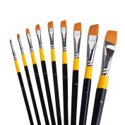 MEEDEN Angular Paint Brushes Set for Oil Acrylics Watercolour and Gouache Colour Painting , 9-Piece