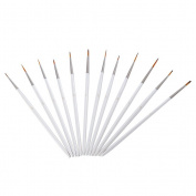 ULTNICE 12pcs Miniature Art Brushes Set for Art Painting Acrylic Watercolour Oil Painting Supplies White