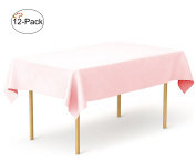 Tiger Chef 12-Pack Pink Heavy Duty Plastic Tablecloth Reusable, 140cm x 270cm Table Cover Plastic, Available in 20 colours