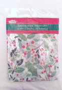 Festive Holiday Flannel-Backed Vinyl Tablecloth - Holly Berry