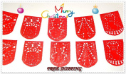 Red Holiday party decor Christmas Banner 4.9m Holiday Banner, Red holiday GARLAND, Papel Picado Bunting