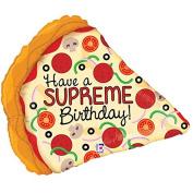 Supreme Birthday Pizza Mylar Balloon