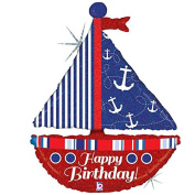 Nautical Birthday Sailboat Mylar Balloon