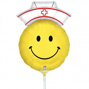 Air Filled Smiley Nurse Mylar Balloon