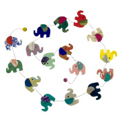 Fair Trade Eco Friendly Paper Elephant Garland, Handcrafted in Nepal