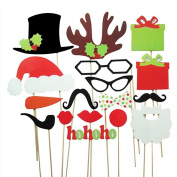 Miss.AJ A Set of 17pcs DIY Funny Glasses Moustache Red Lips Deer Horn Santa Hat On Sticks Christmas Wedding Party Photo Booth Props