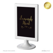 Andaz Press Wedding Framed Party Signs, Black and Metallic Gold Ink, 10cm x 15cm , Lemonade Stand Reception Dessert Table Sign, Double-Sided, 1-Pack, Includes Frame