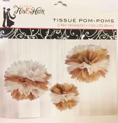 3 pc Tissue Paper Pom Poms in Kraft Tan & White 41cm and 30cm