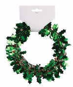 Forum Wire Shiny Christmas Holly 2.7m Garland, Green Red