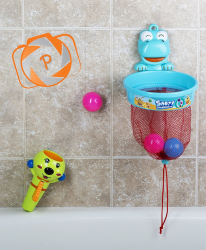 flying ball hoop baby bath toy with suction cups and shower rod hooks includ ebay. Black Bedroom Furniture Sets. Home Design Ideas