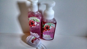 Bath and Body Works Christmas 2016 Frosted Cranberry 260ml Foaming Hand Soap, 240ml Creamy Luxe Hand Soap and 30ml Anti-Bacterial Hand Gel w/ Holder