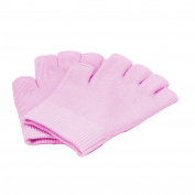 Queentools Gel Cotton Moisturising Gloves, Half Finger Touch Screen Gloves, Moisturising Vitamin and Oil Infused, Against Dry Hard Cracked and Rough Hands Fingers, Colour Pink