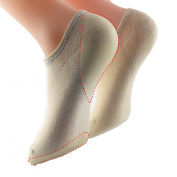 Makhry No Show Gel Lined With Heel and Forefoot Socks Moisturising Gel Spa Socks For Dry Cracked Feet For Size 4 -7.5(Heel Gel+Forefoot Gel Nude)