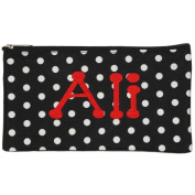Personalised Black with White Polka Dot Cosmetic Pouch Pencil Bag