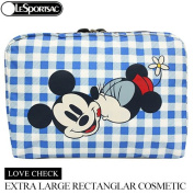 LeSportsac Disney Mickey Minnie Love Cheque X-Large Rectangular Cosmetic Bag