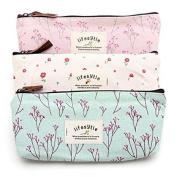 Mintbon 3PCS Countryside Flower Floral Pencil Pen Case Cosmetic Makeup Bag