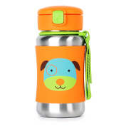 Skip Hop Baby Zoo Little Kid and Toddler Feeding Travel-To-Go Insulated Stainless Steel Straw Bottle, 350ml, Multi Darby Dog