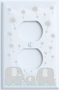 Grey Dandelion Elephant Light Switch Plates Covers / Five Colours to Choose From / Elephant Nursery Decor