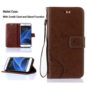 Galaxy S7 Edge Wallet Case - SUMOON Fashion Floral Butterfly Embossed Premium PU Leather Magnetic Flip Cover With Card Holders & Hand Strap for Samsung Galaxy S7 Edge