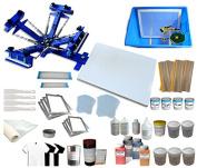 TechTongda Screen Printing Machine 1 Station 4 Colour Screen Printing Kit for T-shirt DIY Screen Printing Press