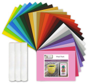 25 Assorted Vinyl Selection Sheets w/ 2 sheets of Adhesive Backed Transfer Paper