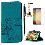 Note 3 Case,Samsung Galaxy Note 3 Case - Slim Fit Wallet Flip Embossed Clovers PU Leather Case with Shock-Absorption TPU Inner Cover & Dust Plug Stylus Pen HD Screen Protector by Badalink - Blue